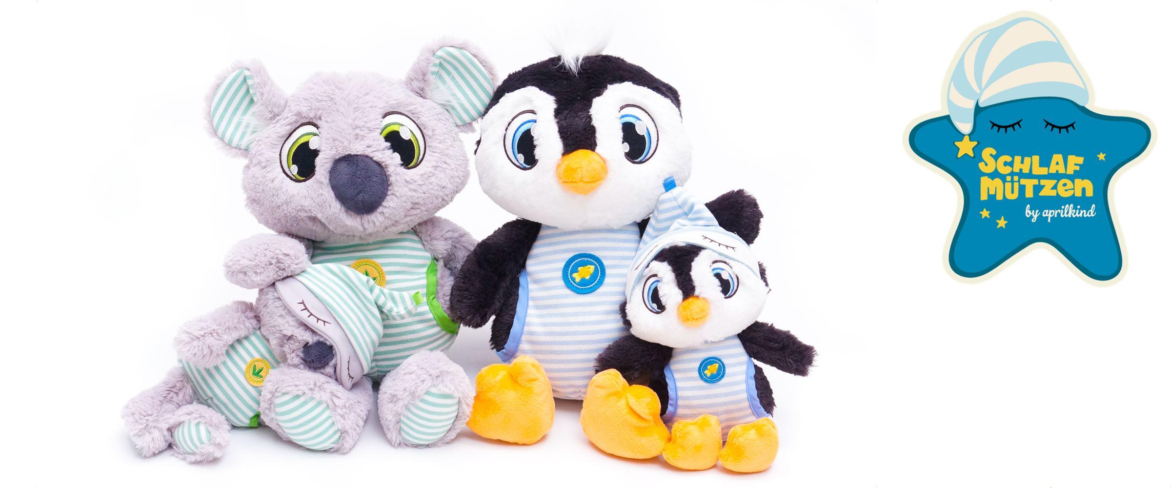 Neu: Schlafmützen Pinguin und Koala